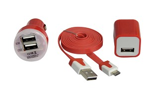 YCS Basics Red Cellphone Charging / Sync Travel Set