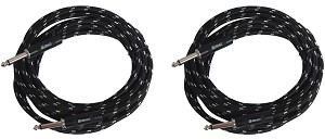 2 Pack, Sendt 10 foot 1/4 inch (6.3mm) Male to Male Mono Nylon Braided Instrument Cable.