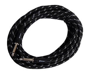 Sendt 25 foot 1/4 inch (6.3mm) Male to Male Mono Nylon Braided Instrument Cable