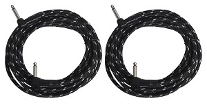 Two Sendt 15 foot 1/4 inch (6.3mm) Dual Right Angle Male to Male  Mono Nylon Braided Instrument Cables