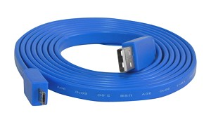 YCS Basics blue 6 foot USB 2.0 male to Micro male flat nickel plated cable