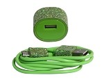 Candy Cables Android Green Glitter Cell Phone Cable + Wall Charger Sync / Charging Set