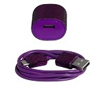 Candy Cables Android Purple Glitter Cell Phone Cable + Wall Charger Sync / Charging Set