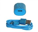 Candy Cables Android Turquoise Glitter Cell Phone Cable + Wall Charger Sync / Charging Set