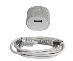 Candy Cables Android White Glitter Cell Phone Cable + Wall Charger Sync / Charging Set