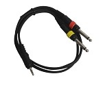 Sendt 3 Foot 1/8 inch (3.5mm) Male Stereo to Dual  1/4 inch (6.3mm) Male Mono Instrument Cable