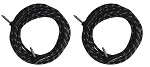Two Sendt 18 foot 1/4 inch (6.3mm) Dual Right Angle Male to Male  Mono Nylon Braided Instrument Cables