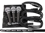 3 Pack Sendt Microphones with (3) 10 foot Sent Microphone cables, (3) carrying cases and (6) Velcro cable ties