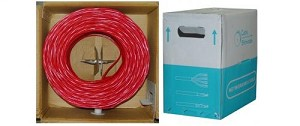 1000 Ft Red 24 AWG Cat 5e Bulk Ethernet Cable UTP / Solid