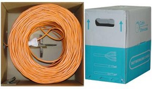 1000 Ft Orange 24 AWG Cat 5e Bulk Ethernet Cable UTP / Solid / Plenum