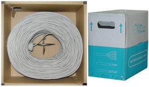 1000 Ft Gray 24 AWG Shielded Cat 5e Ethernet Cable STP / Solid