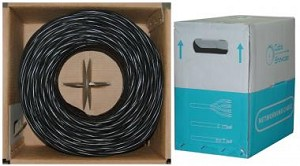 1000 Ft Black 24 AWG Shielded Cat 5e Ethernet Cable STP / Solid