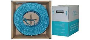 1000 Ft Blue 24 AWG Shielded Cat 5e Ethernet Cable STP / Solid