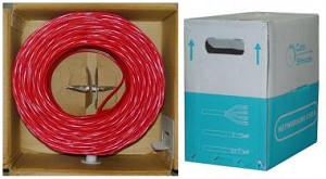 1000 Ft Red 24 AWG Shielded Cat 5e Ethernet Cable STP / Solid