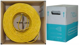 1000 Ft Yellow 24 AWG Shielded Cat 5e Ethernet Cable STP / Solid