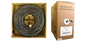 1000 Ft Black 20 AWG RG59 U Solid Coaxial Cable Pullbox