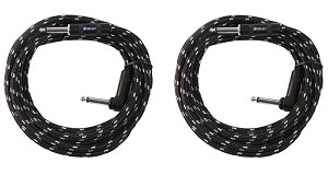 Two Sendt 10 foot 1/4 inch (6.3mm) Male to Right Angle Male  Mono Nylon Braided Instrument Cables