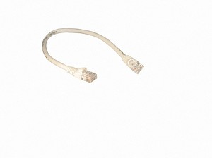 White 1 Foot Cat 5e 350MHz Snagless Ethernet Cable