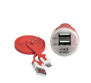 YCS Basic red two port USB car charger with 3 foot USB male to Micro male 5 pin cable