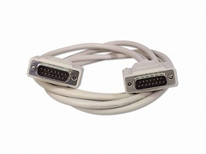 6 Foot DB15 15 Pin Serial Port Cable Male / Male