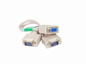Your Cable Store 1 Foot 9 Pin Serial Splitter Cable DB9 2 Male / 1 Female RS232
