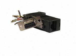 Black Wire Your Own Adapter Box DB9 Female To RJ45 Female