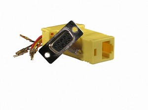 Yellow Wire Your Own Adapter Box DB9 Female To RJ45 Female