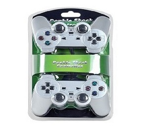 USB 16-Button Double Shock Gamepad for PC 2-Pack (Silver)