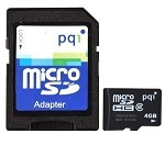 PQI 4GB Micro Secure Digital Memory Card with SD Adapter