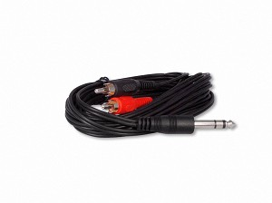 "10 Foot 1/4"" (6.3mm) Stereo Headphone To RCA Adapter Cable"