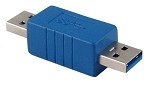 Blue USB 3.0 Male A To Male A  Adapter / Coupler