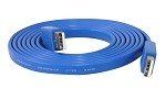 YCS Basics blue 6 foot USB 2.0 male to male flat nickel plated cable
