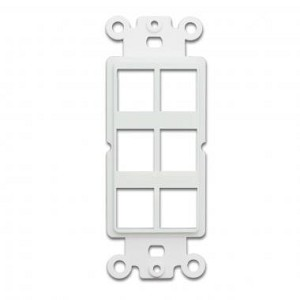 Decora Wall Plate Insert, 6 Hole for Keystone Jack, White