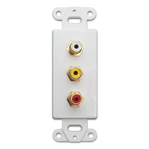 Decora Wall Plate Insert, 3 RCA Couplers (Red/White/Yellow), White