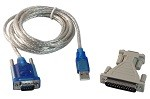 YCS Basics 6 Foot USB To DB9 9 Pin Serial Cable (RS232) With DB25 25 Pin Serial Adapter