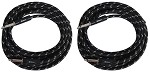 2 Pack, Sendt 18 foot 1/4 inch (6.3mm) Male to Male Mono Nylon Braided Instrument Cable.