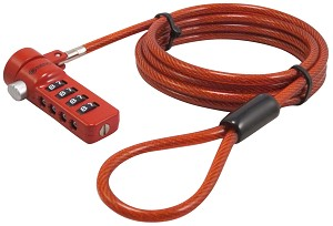 Sendt Red Notebook / Laptop Combination Lock Security Cable